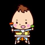 ベビーチェアで食事する赤ちゃんのイラスト