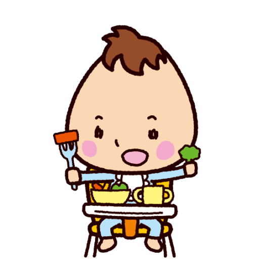 ベビーチェアで食事をする赤ちゃんのイラスト(2カット)