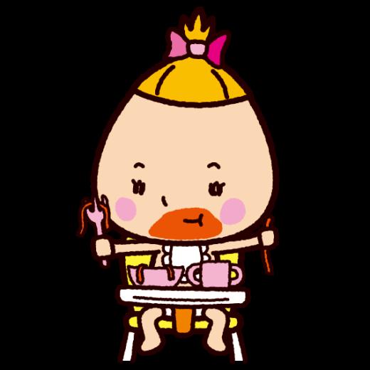食事で口が汚れた赤ちゃんのイラスト(2カット)