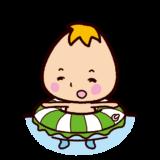 浮き輪と赤ちゃんのイラスト