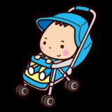 ベビーカーに乗った赤ちゃんのイラスト
