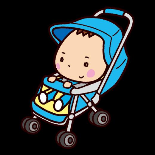 ベビーカーに乗った赤ちゃんのイラスト(2カット)