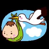 コウノトリに運ばれる赤ちゃんのイラスト