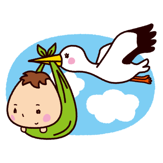 コウノトリと赤ちゃんのイラスト(4カット)