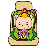 チャイルドシートに座る赤ちゃんのイラスト