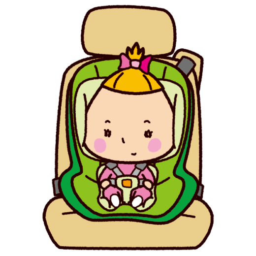 チャイルドシートに座る赤ちゃんのイラスト(2カット)