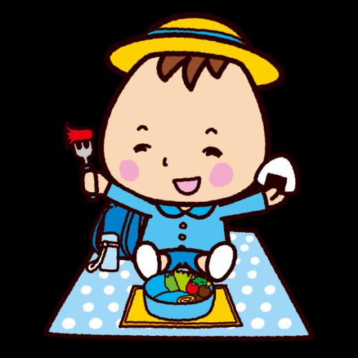 お弁当を食べる子供のイラスト(制服)(3カット)