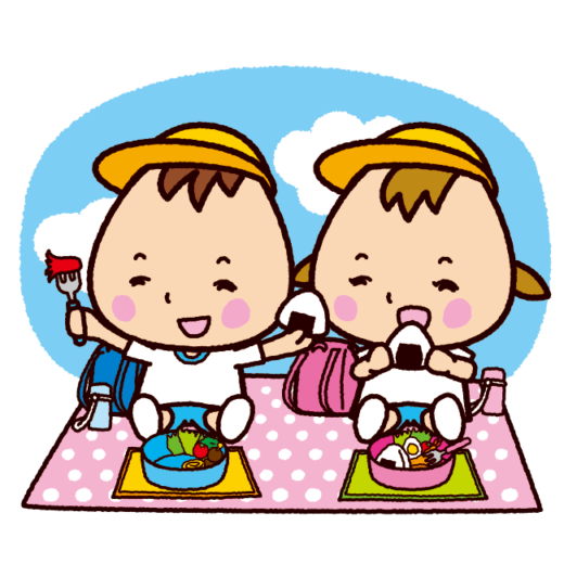 お弁当を食べる子供のイラスト(体操服)(3カット)