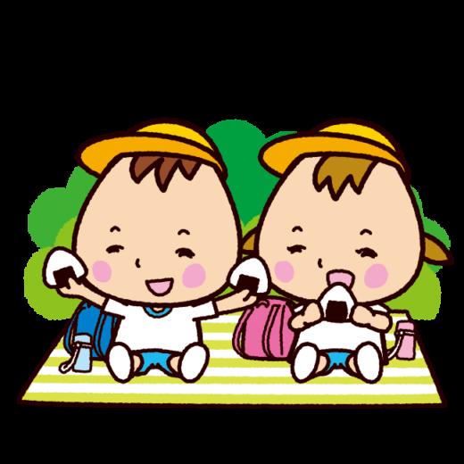 おにぎりを食べる子供のイラスト(体操服)