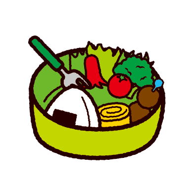 食べかけのお弁当のイラスト(2カット)
