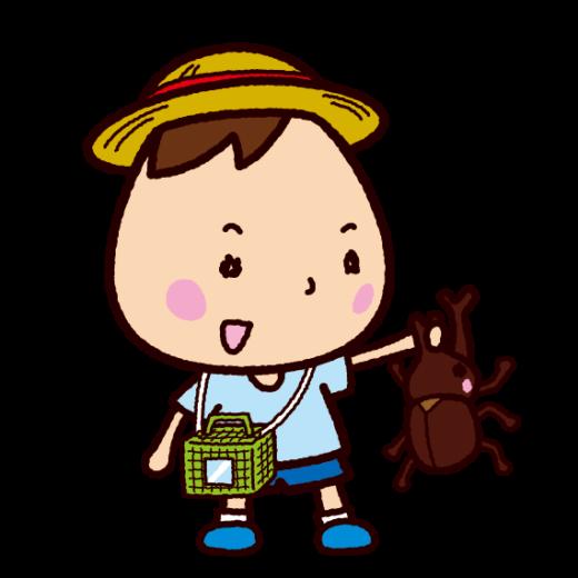 カブトムシを捕まえた子供のイラスト(虫取り)(2カット)