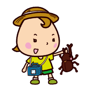 カブトムシを捕まえた子供(虫取り)のイラスト