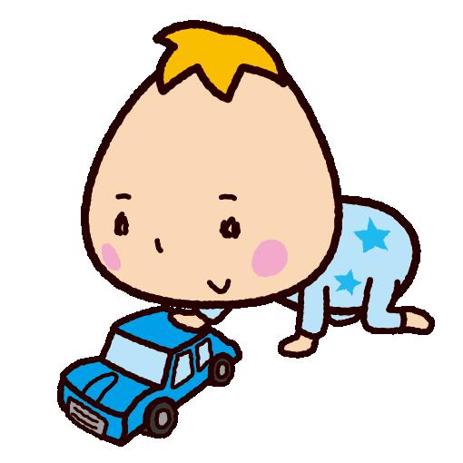 車のおもちゃで遊ぶ赤ちゃんのイラスト(2カット)
