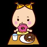 ドーナツを食べる子供のイラスト