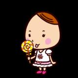 ペロペロキャンディを舐める子供のイラスト