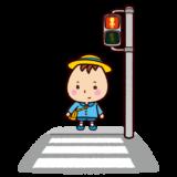 信号待ちをする子供のイラスト
