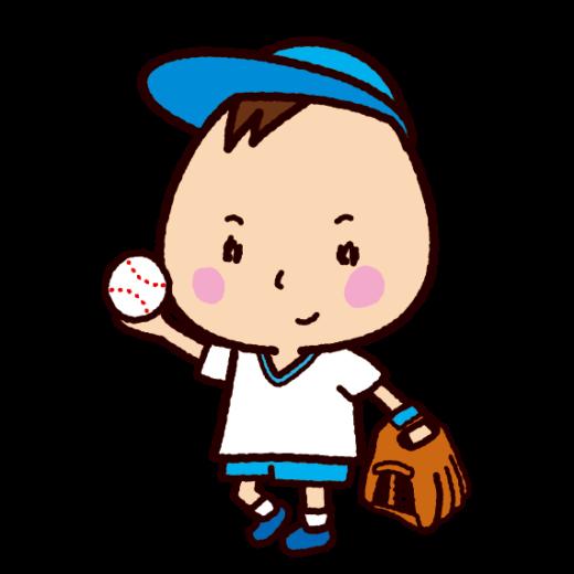 野球をする子供のイラスト