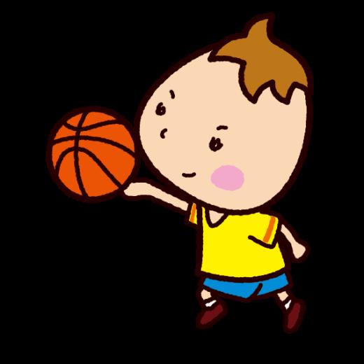 バスケットをする子供のイラスト
