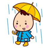 傘をさした子供のイラスト
