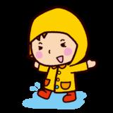 レンコートを着た子供のイラスト