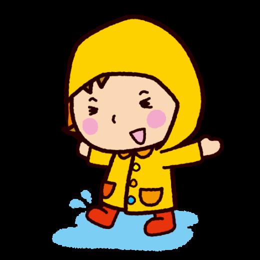レインコートを着た子供のイラスト