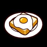 目玉焼きを乗せた食パンのイラスト