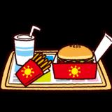 ハンバーガーセットのイラスト