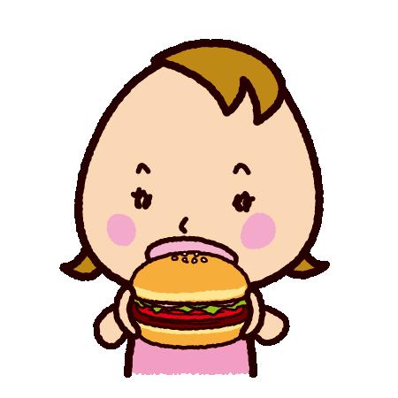 ハンバーガーを食べる子供のイラスト
