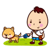 犬の散歩をする子供のイラスト
