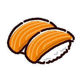 お寿司のイラスト(サーモン)(2カット)