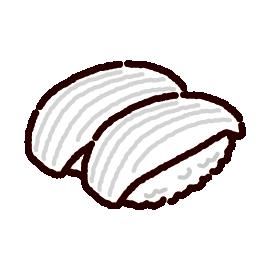 お寿司のイラスト(イカ)(2カット)