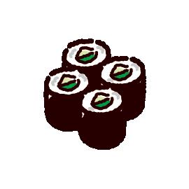 お寿司のイラスト(カッパ巻き)(2カット)