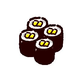 お寿司のイラスト(お新香巻き)(2カット)