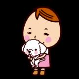 犬を抱っこする子供のイラスト