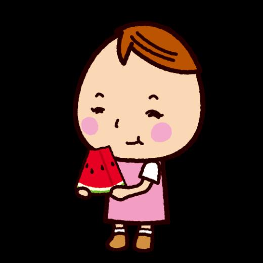 スイカを食べる子供のイラスト