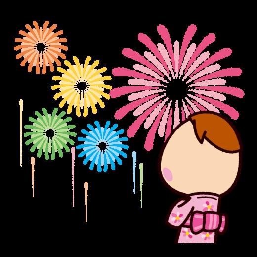 花火を見る子供のイラスト(花火大会)