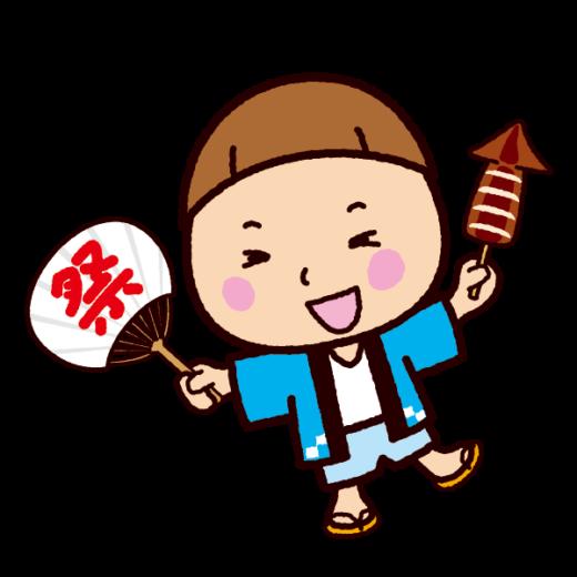 祭りのイラスト(イカ焼きと男の子)
