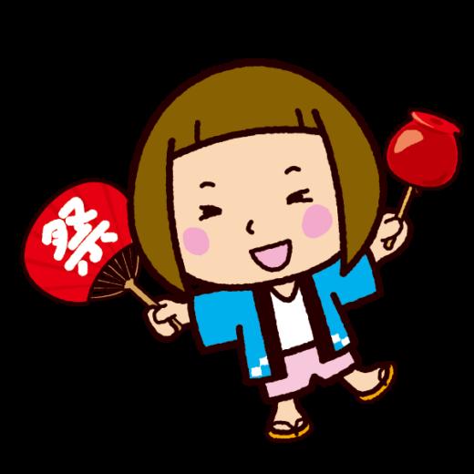 祭りのイラスト(りんご飴と女の子)