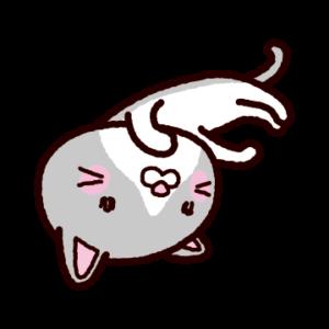 猫のイラスト(白灰)