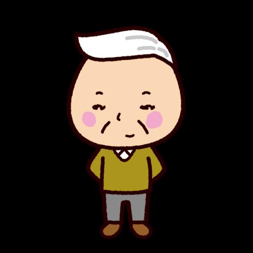 老人のイラスト(おじいさん白髪)
