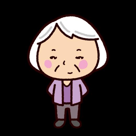 老人のイラスト(おばあさん白髪)