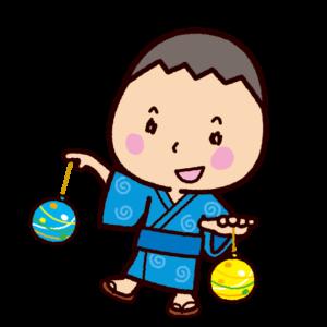 水風船で遊ぶイラスト(水ヨーヨー)