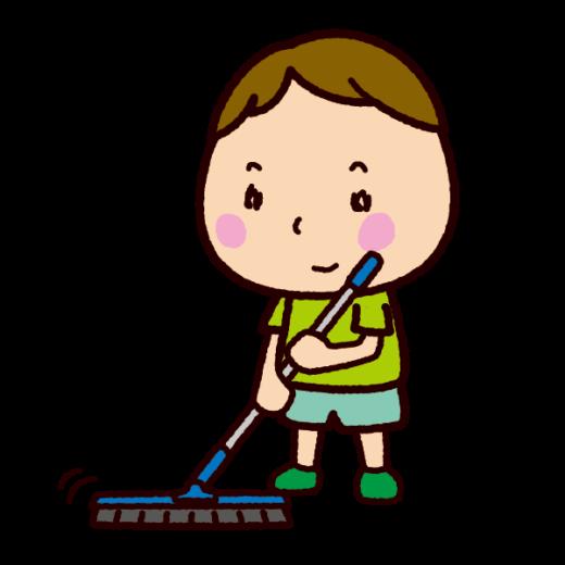 掃除のイラスト(掃きそうじ)