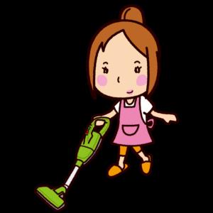 掃除機をかけるイラスト(コードレス)