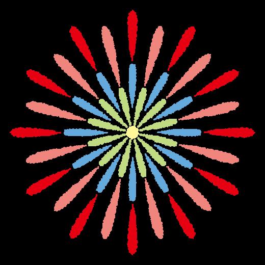 花火のイラスト(カラフル)