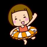 海水浴のイラスト(うきわ)