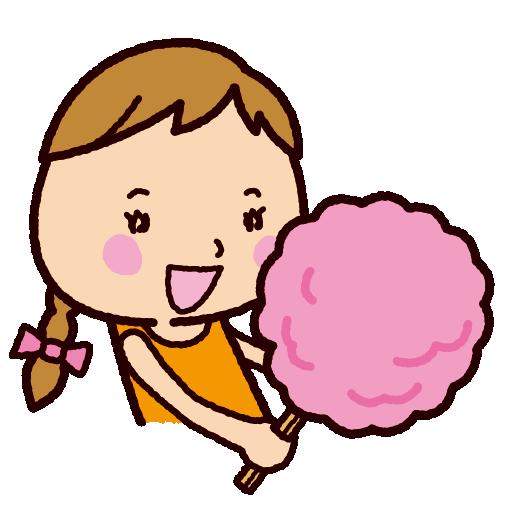 わたあめを食べる子供のイラスト(わたがし)