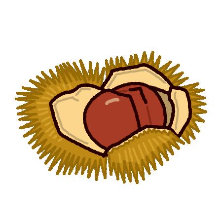 栗のイラスト(いがぐり)