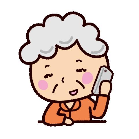 スマホで電話する老人のイラスト(2カット)