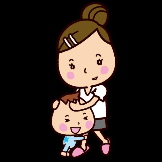 ママに抱きつく赤ちゃんのイラスト